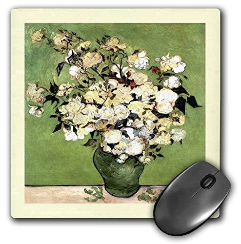 Mauspad Grün N Elfenbein gerahmt Van Goghs Vase mit Rosen Gemälde