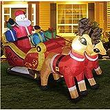 Riiai LED gigante inflable, doble ciervo trineo Santa Claus 2.2 m de largo Navidad inflable, temblor cabeza muñeca inflables para decoración de Navidad/regalo de cumpleaños
