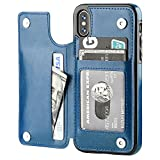 iPhone Xs iPhone X Wallet Case with Card Holder,OT ONETOP Premium PU Leather Kickstand Card Slots Case,Double Magnetic Clasp and Durable Shockproof Cover(Blue)