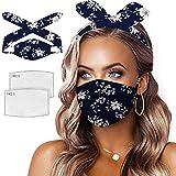 UOWEG 1 Stück Damen Stirnbänder Gesichtsmasken Mundschutz Schmetterling Maske Waschbar Wiederverwendbar Stoffmaske Mund Nasen Bedeckung Haarband Halstuch Schals Mit 2 Filter