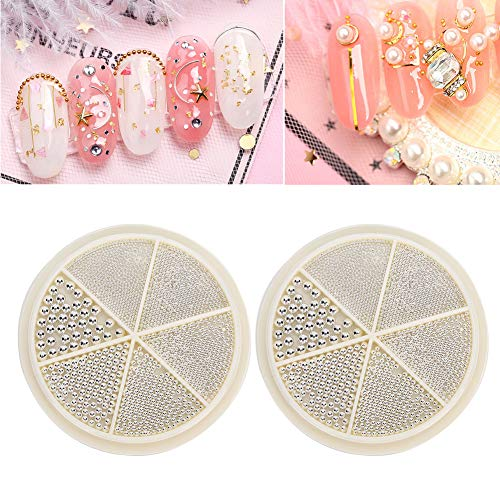 2 Boxen 6 Gitter professionelle Nagelperlen Salon Nagelkunst Maniküre Handwerk DIY Dekoration Perlen Zubehör für Nägel Kunst(02)