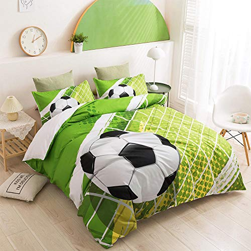 AHKGGM Duvet cover set Double Cyan Football Bedding 3 pcs Microfiber duvet cover 79x79 inch with zipper closure And 2 pillowcases 20x30 inch -for adults and children's bedrooms