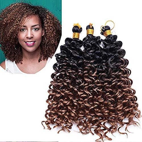 3 Bündel Hair Extensions Afro Flechthaar Haarteil wie Echthaar Water Wave Crochet Weaving Braids Günstig Haarverlängerung 8 Zoll (20cm) 90 Gramm # Schwarz zu Braun