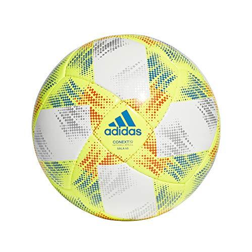 adidas Herren CONEXT19 SAL65 Soccer Ball, top:White/Solar Yellow/Solar red/Football Blue Bottom:Silver met, FUTS