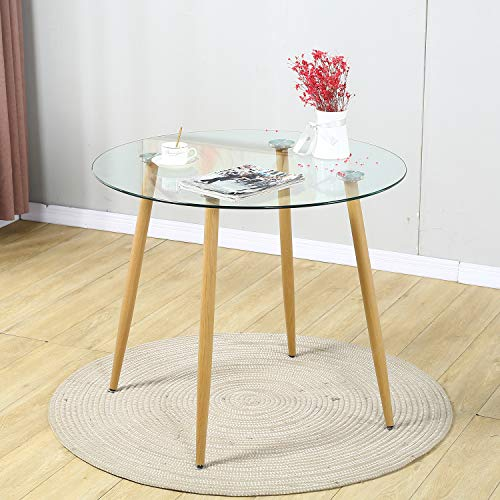 STYLIFING Modern Round Glass Dining Table Tempered Glass Top with Sturdy Wood Printed Transfer Metal Legs for Kitchen Room, Dining Room