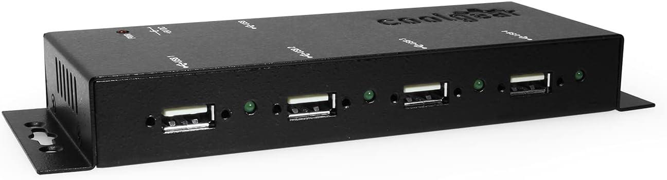 Coolgear Metal 4-Port USB 2.0 Powered Hub for Industrial Use w/Screw Lock