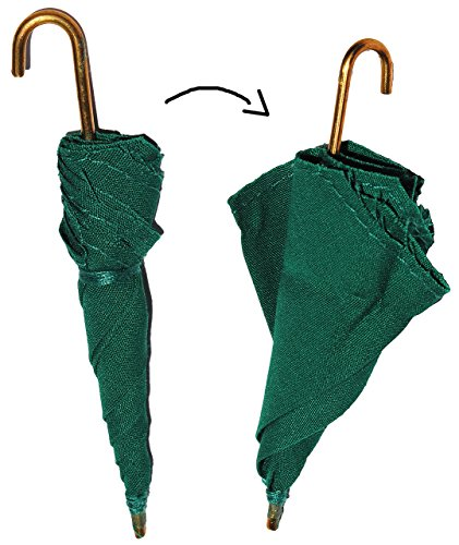 alles-meine.de GmbH 1 Stück: Regenschirm - grün - Miniatur / Maßstab 1:12 - für Puppenstube - Puppenhaus Puppenküche - Sonnenschirm / Schirme - Diorama Deko - Schirm Kinderregens..