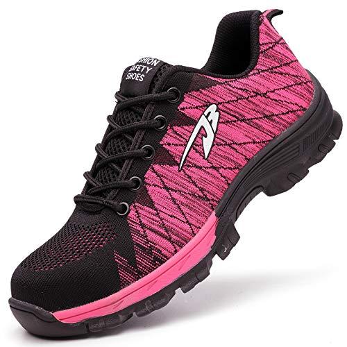 Zapatillas de Seguridad Hombre Zapatos de Mujer Antideslizante Transpirable Zapatos de Trabajo Calzado de Trabajo Ultra Liviano Suave y Cómodo Deportes Unisex