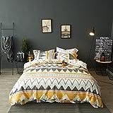 Modern Boho Tribal Bedding Aztec Stripe Print Cotton Duvet Quilt Cover Set Native American Denim Blue and White Bohemian Urban Hippie Geometric Pattern (King, Orange Multicolor)