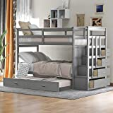Bunk Beds with Trundle, Rockjame Solid Wood Twin Over Twin Bunk Bed Frame with Staircase, Storage Drawers and Safety Guard Rail for Boys, Girls, Kids, Teens and Adults (Gray)