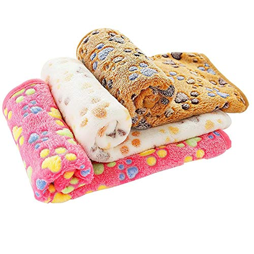 PET SPPTIES Pata pequeña impresión paño Grueso y Suave Manta Suave Estera del Animal doméstico 3 Piezas PS016(Pink+Beige+Coffee,60cmx40cm)