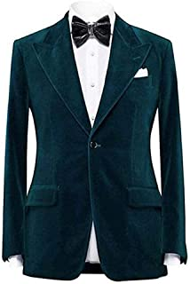 Men's Notch Lapel One Button Velvet Blazer Prom Party Jacket Wedding Dinner Tuxedos