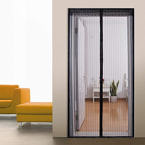 Loboo Idea Magnetic Screen Door,35.43x 86.61 Inches Screen Doors with Magnets Heavy Duty Mesh Curtain, for Front Door Apartments and More, Hands Free, Anti Mosquito Bugs, Pet and Kid Entry Friendly