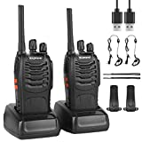 BF-88E Walkie Talkies Rechargeable Long Range, Portable Handheld Two way Radio with Earpieces and LED Light...