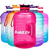 BuildLife Gallon Motivational Water Bottle with Time Marked to Drink More Daily - BPA Free Reusable Gym Sports Outdoor Large 128oz Capacity(Pink, 1 Gallon)
