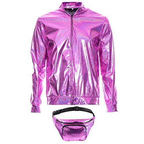 70s 80s 90s Foil Metallic Shiny RAVE Bomber Jacket Hologram Festival Fancy Dress Pink
