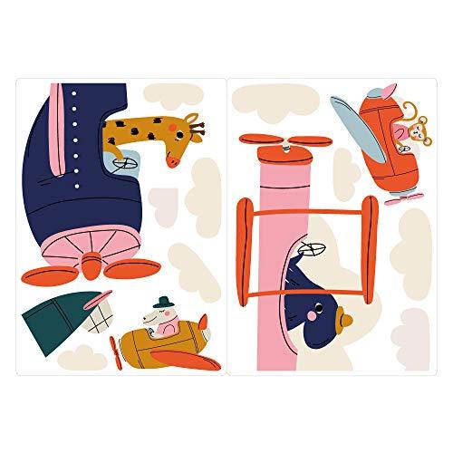dekodino® Fenstersticker Kinderzimmer Pastell Giraffe Affe Flugzeug