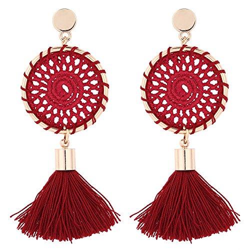 Ohrring, 5 Farben Baumwollgarn Handgestrickt Lange Quaste Ohrringe Frauen Modeschmuck (Rot)