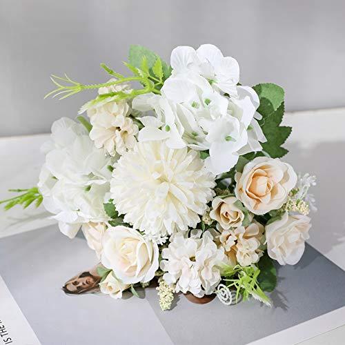 Barley33 7 Köpfe Hortensie Blumen Künstlicher Blumenstrauß Seide Blühende Gefälschte Pfingstrose Braut Hand Blumen Rosen Hochzeit Mittelstücke Dekor