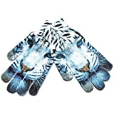 ニット手袋 1ペア冬暖かいレディースメンズグローブ3Dパターンのデジタル塗装のタッチスクリーン手袋 (Color : 2)