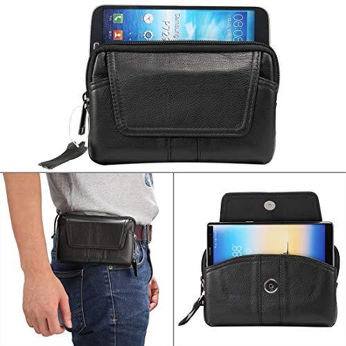 BANAZ Caja del teléfono de 6.0 pulgadas y debajo de los hombres de cuero genuino universal Caja de estilo horizontal Bolso de la cintura con el agujero de la cinta, para iPhone, Samsung, Sony, Huawei,