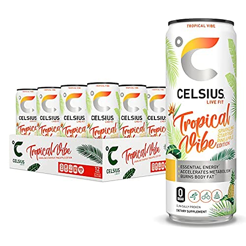 CELSIUS Sparkling Tropical Vibe Fitness Energy Drink, Zero Sugar, 12oz. Slim Can (Pack of 12)