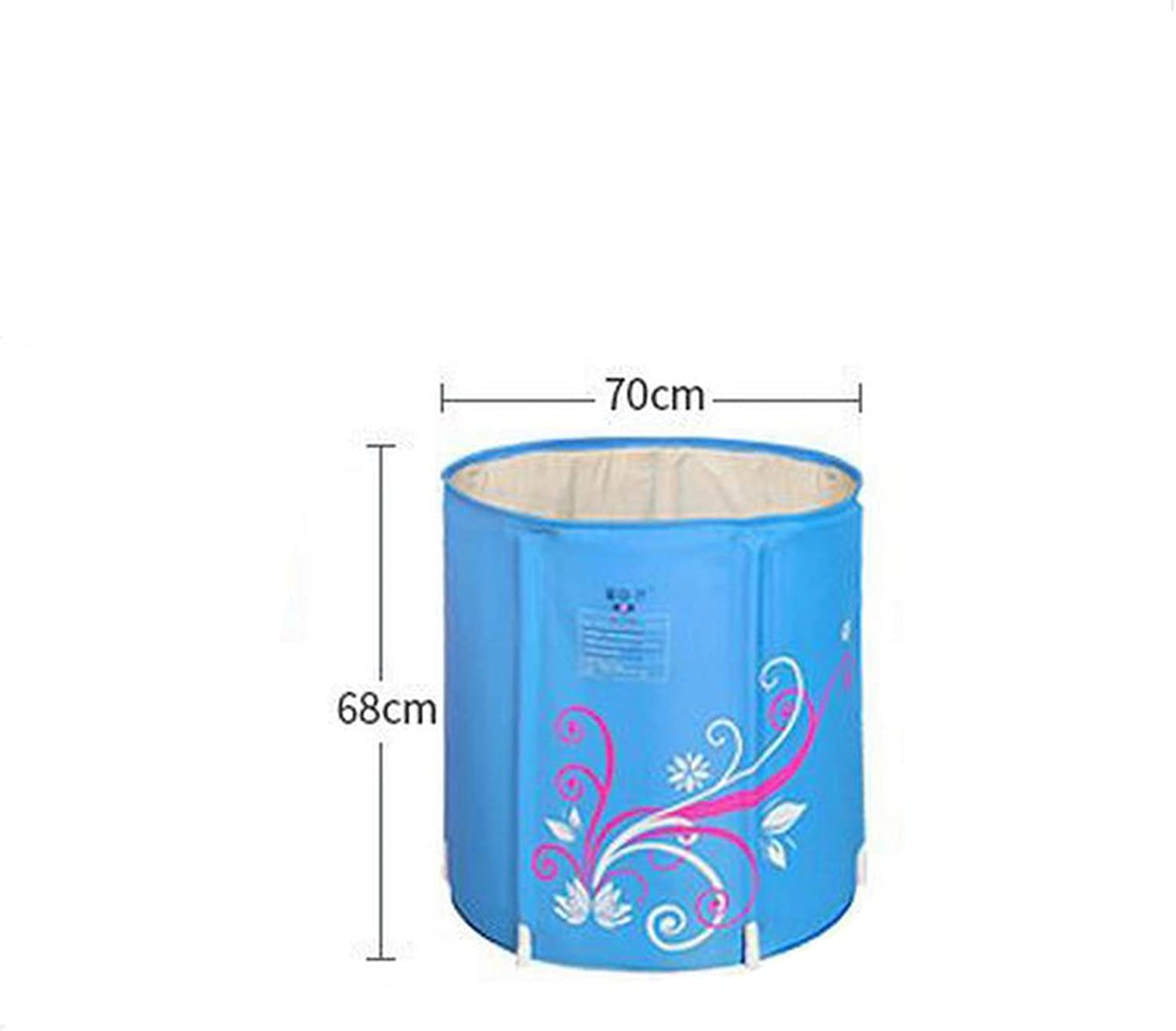 Bath tub Inflatable Bathtub Thicker Quilted Fold Bath Tub Bath Barrels Adult Bathtub Wash Basin Bath Barrels Bath barrels ( color   bluee , Size   7068CM )
