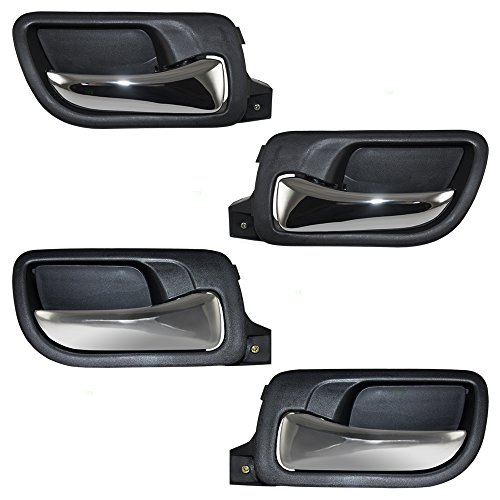 4 Pc Set Front & Rear Inside Door Handles Chrome Lever w/Black Housing Replacement for Honda Accord HO1352132 HO1353132 HO1552106 HO1553106 AutoAndArt
