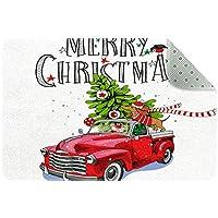 エリアラグ軽量 クリスマスレッドトラックカーダックスフント犬 フロアマットソフトカーペットチホームリビングダイニングルームベッドルーム