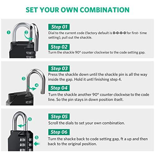 Combination Padlock Heavy Duty Lock - BeskooHome Waterproof 4-Digit Combination Lock for School, Gym, Outdoor Shed Locker - 2 Pack