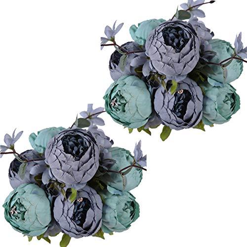 Nubry 2 Piezas Artificial Peonía Seda Flores Bouquet para Boda Inicio Jardín Fiesta Decoración (Gris Azul+Verde)