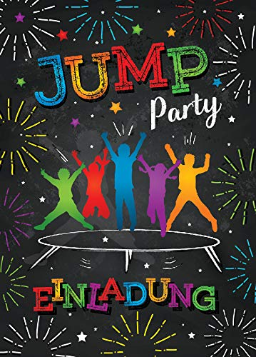 8 Einladungskarten zum Kindergeburtstag Jump Trampolin Mädchen Junge Einladungen Geburtstag
