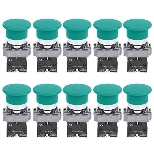 Equipo de control de distribución de energía Interruptor de botón Resistencia a altas temperaturas Practicabilidad Confiable para uso industrial(XB2-10M green, pink)
