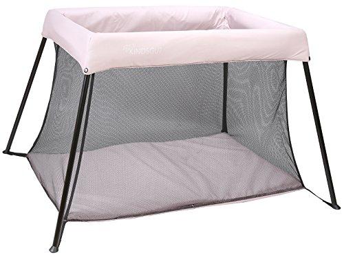 Kindsgut parc bébé pliable, convient comme lit de voyage, matelas et sac de transport inclus, rose pâle