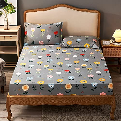 MZP Fitted Bottom Sheet Only Twin printing adult Kids Fitted Sheets Only Ultra-Soft cotton 15cm Deep Pocket Bed Sheets king full queen Small Double (Color : Gray C, Size : 150x200cm)