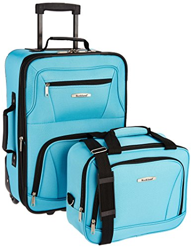 Rockland Fashion Softside Upright Luggage Set, Turquoise
