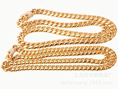 Daesar Collar Cadena Oro Hombre Cadena de Curb Circonita Blanca Collar de Cadena Acero Inoxidable 8mm Collares Hombre Cadena 86cm