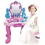 XXSHN Inicio Juego de Mesa de tocador de Belleza de vanidad de fantasía para niños pequeños Accesorios de Maquillaje para niños y Juguetes de simulación