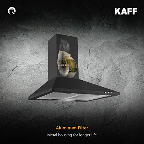 Kaff ELBAA DHC 60 | Dry Heat Auto Clean | Heavy Duty Baffle Filter | Matt Black Finish | Soft Push Controls