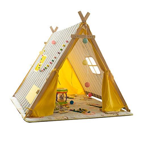 Kinder Spielen Zelt Spiel Haus Streifen Großen Raum Zelt Jungen Mädchen 3 Jahre Alt Indoor Outdoor Einfach Zu Demontieren Einfache Mode Urlaub Geschenk(Yellow)