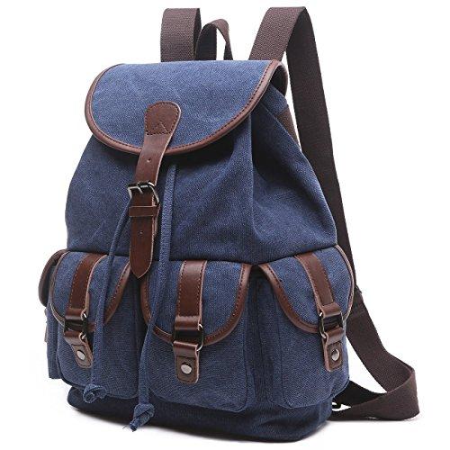 BAOSHA LP-13 Mädchen Damen Leinwand Rucksäcke Schulrucksack Laptop Schultasche Outdoor Sports Freizeit Casual Daypacks (Blau)