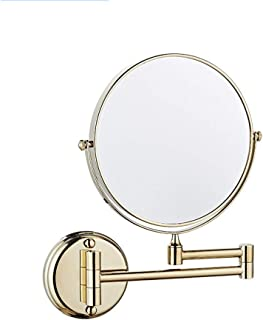 MXD Mirror Free Punching Bathroom Mirror Wall Mounted Mirror Bathroom Folding Double Sided Magnifier Gold (Size : S)