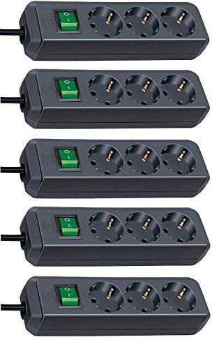 Brennenstuhl Eco-Line, Steckdosenleiste 3-fach | mit Schalter - besonders stromsparend (Schwarz 1.5m Kabel | 5er Pack)
