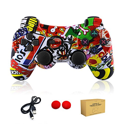 dainslef PS3 Controller Wireless Dualshock Remote/Gamepad for Sony Playstation 3 Bluetooth PS3 Games,PS3 Controller,PS3 Remote PS3 Sixaxis Joystick with Charging Cable (Graffiti)