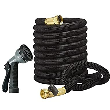 Deceny CB 50ft Garden Hose - Expandable Water Hose with Double Latex Core, 3/4  Solid Brass Fittings, Extra Strength Fabric - Flexible Expanding Hose with Metal 8 Function Spray Nozzle