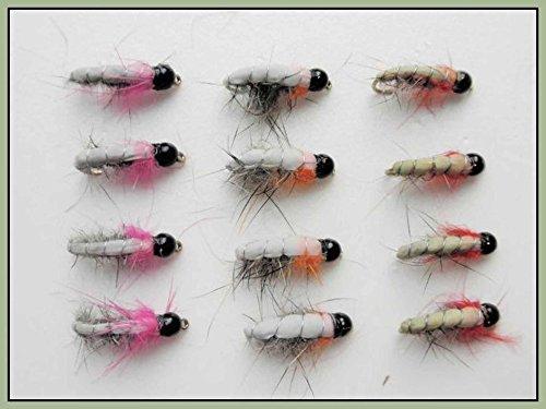 12Tungsten Bead Tschechische Nymphe Angeln Fliegen, gut für äschen/Forelle, gemischt
