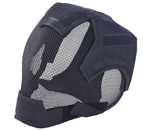 Outgeek Airsoft Mask Full Face Mask War Game Steel Mesh Protective Mask(Black)