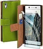 moex Handyhülle für Sony Xperia XA1 - Hülle mit Kartenfach, Geldfach & Ständer, Klapphülle, PU Leder Book Hülle & Schutzfolie - Grün