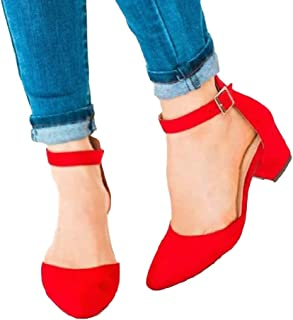 Women's Ankle Scalloped Strap Buckle Pump Sandals Pointed Toe Chunky Heeled Shoes