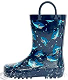 Outee Toddler Rain Boots Boys Kids Rubber Waterproof Shoes Printed Whale Blue Cute Print with Easy...